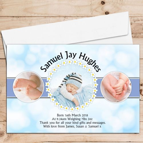 10 Personalised Baby Boy Birth Announcement Thank You Photo Cards N33